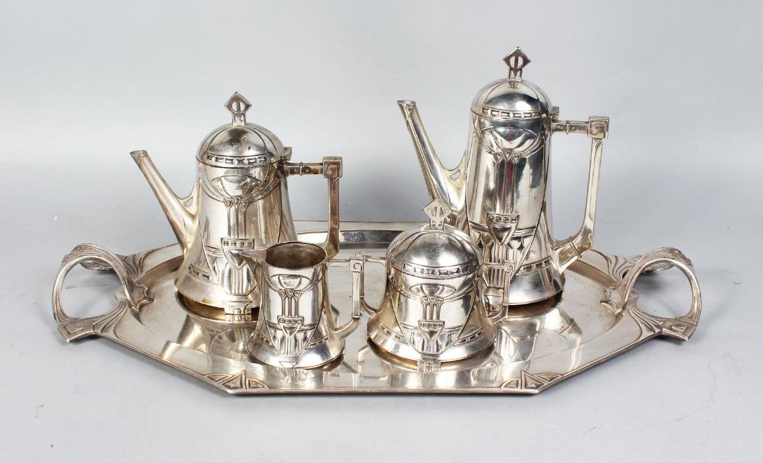 A WMF SILVER PLATED FIVE-PIECE TEA AND COFFEE SERVICE,