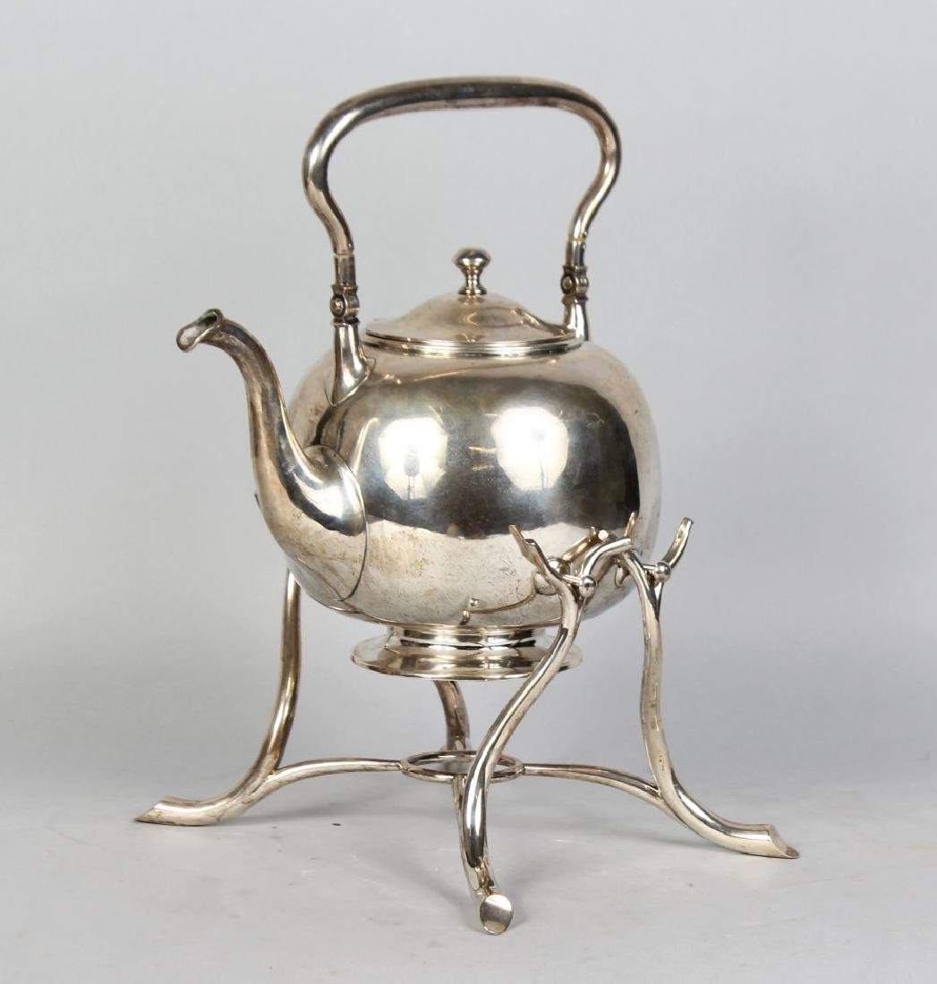 A 19TH CENTURY DANISH SILVER GLOBULAR KETTLE AND STAND,