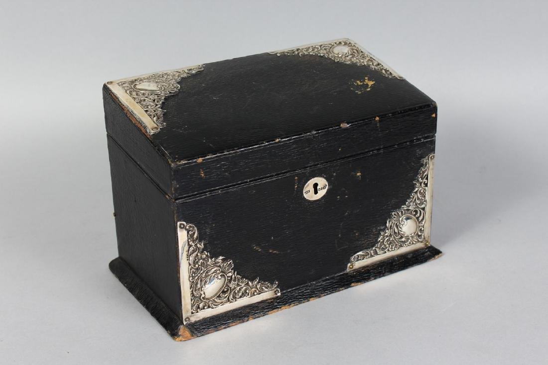 A SILVER MOUNTED LEATHER STATIONERY BOX.  9.5ins wide. - 2