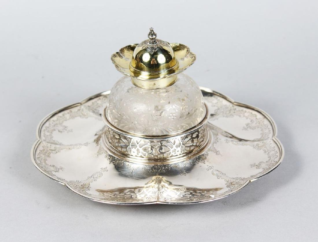A VICTORIAN ENGRAVED SHAPED OCTAGONAL INKWELL, with