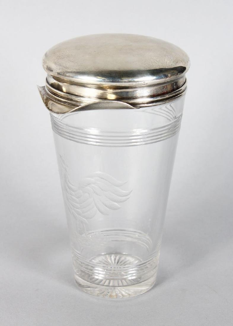 A STERLING SILVER TOP TAPERING GLASS COCKTAIL SHAKER