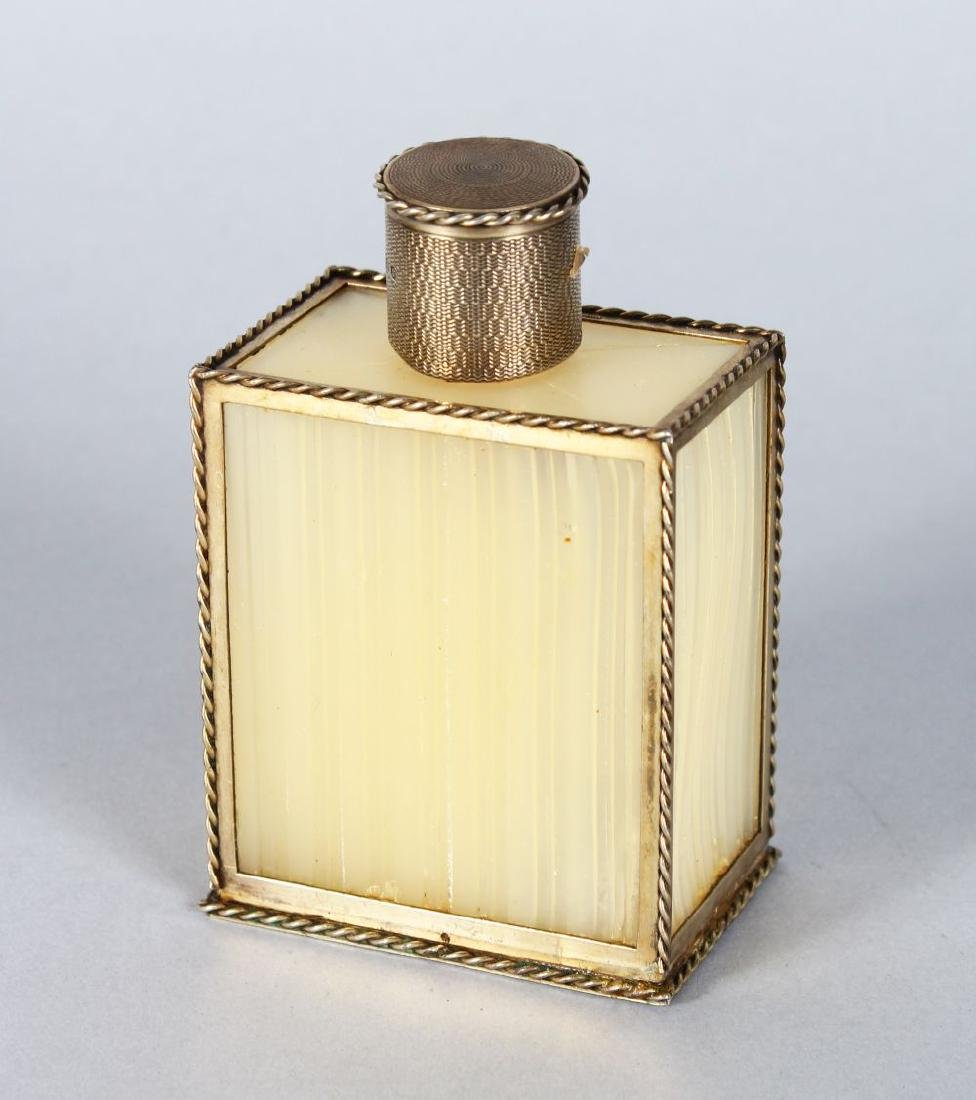 A GOOD ASPREYS SILVER MOUNTED SCENT BOTTLE.  London
