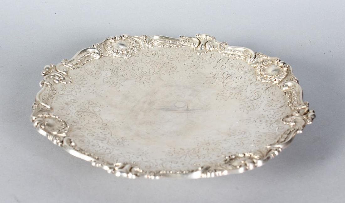 A STERLING SILVER ENGRAVED SALVER by S. A. MACQUEEN &