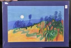 20th Century English School. A Moonlit Landscape,
