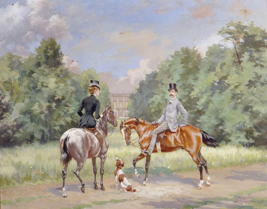 Late 19th Century English School. Figures on Horseback