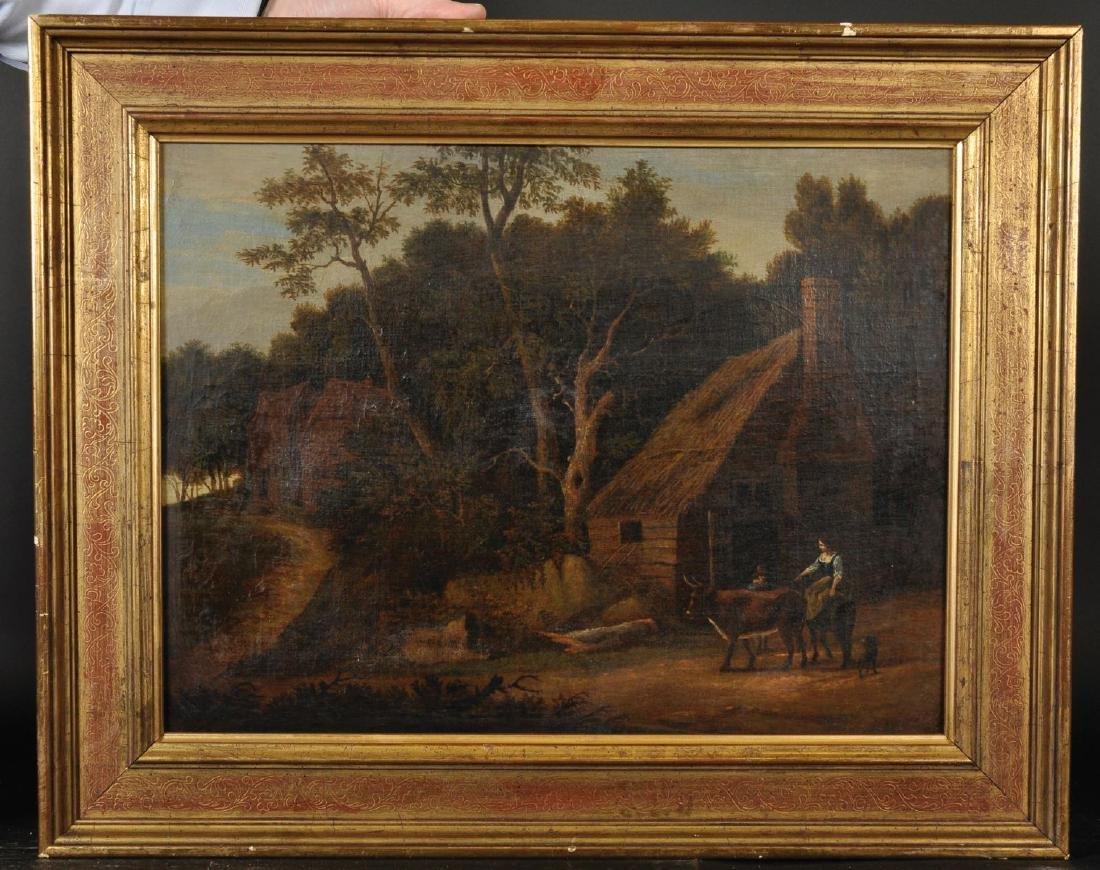 18th Century Dutch School  A Lady on a Donkey, with