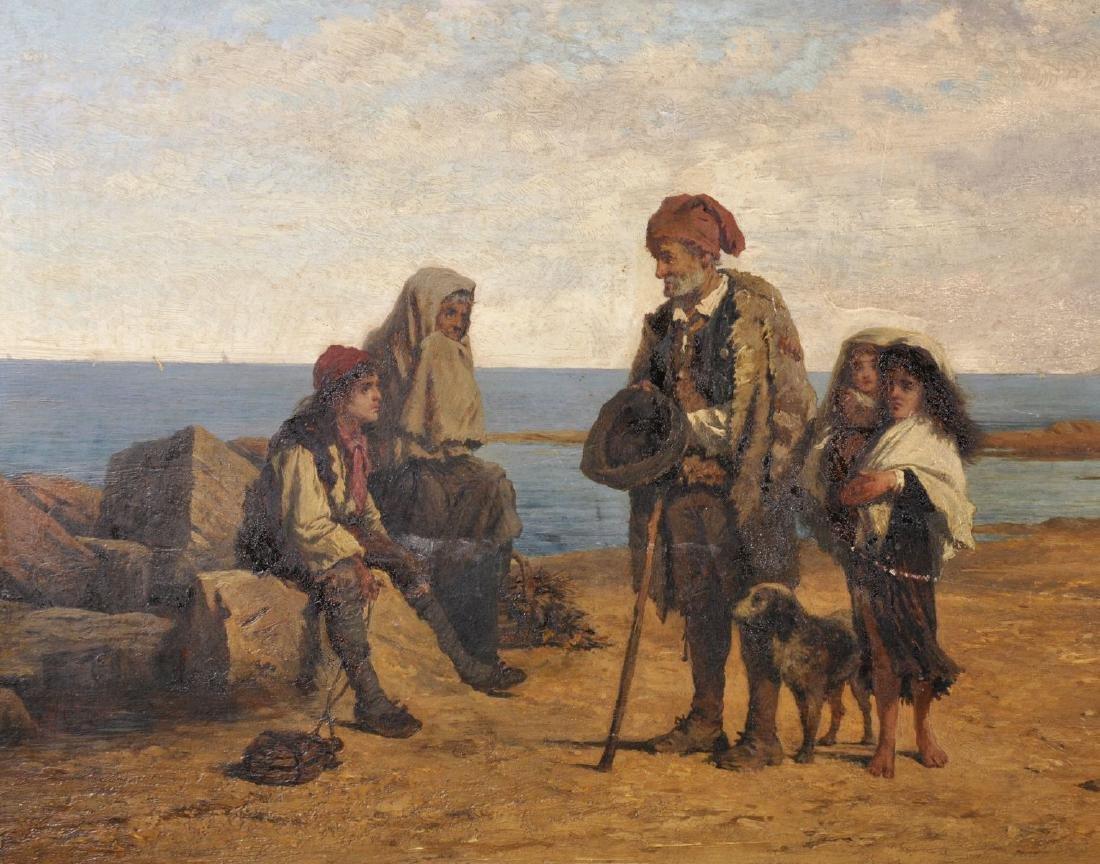 "Carl Schloesser (1832-1914) German. ""Sicilian Beggars"", - 4"