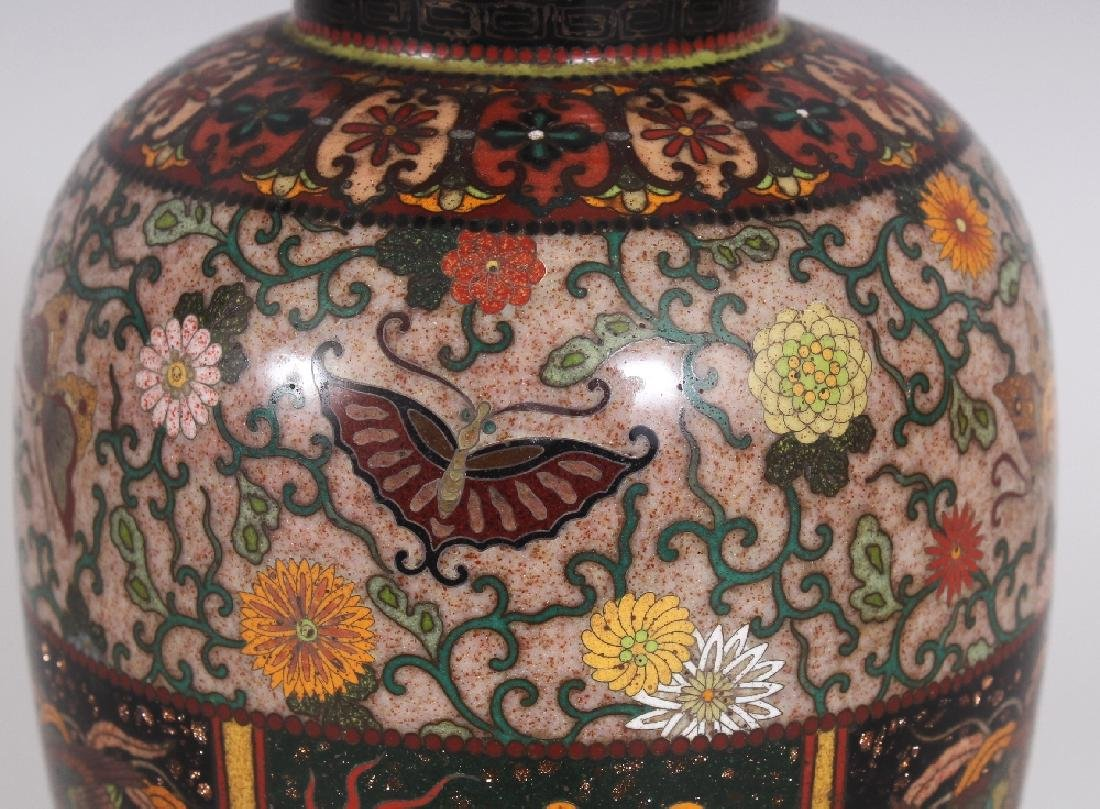 A GOOD QUALITY JAPANESE MEIJI PERIOD CLOISONNE VASE, in - 3
