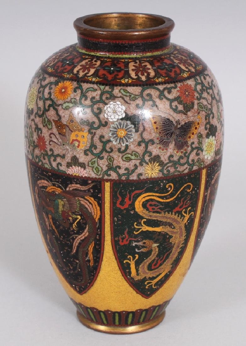 A GOOD QUALITY JAPANESE MEIJI PERIOD CLOISONNE VASE, in - 4