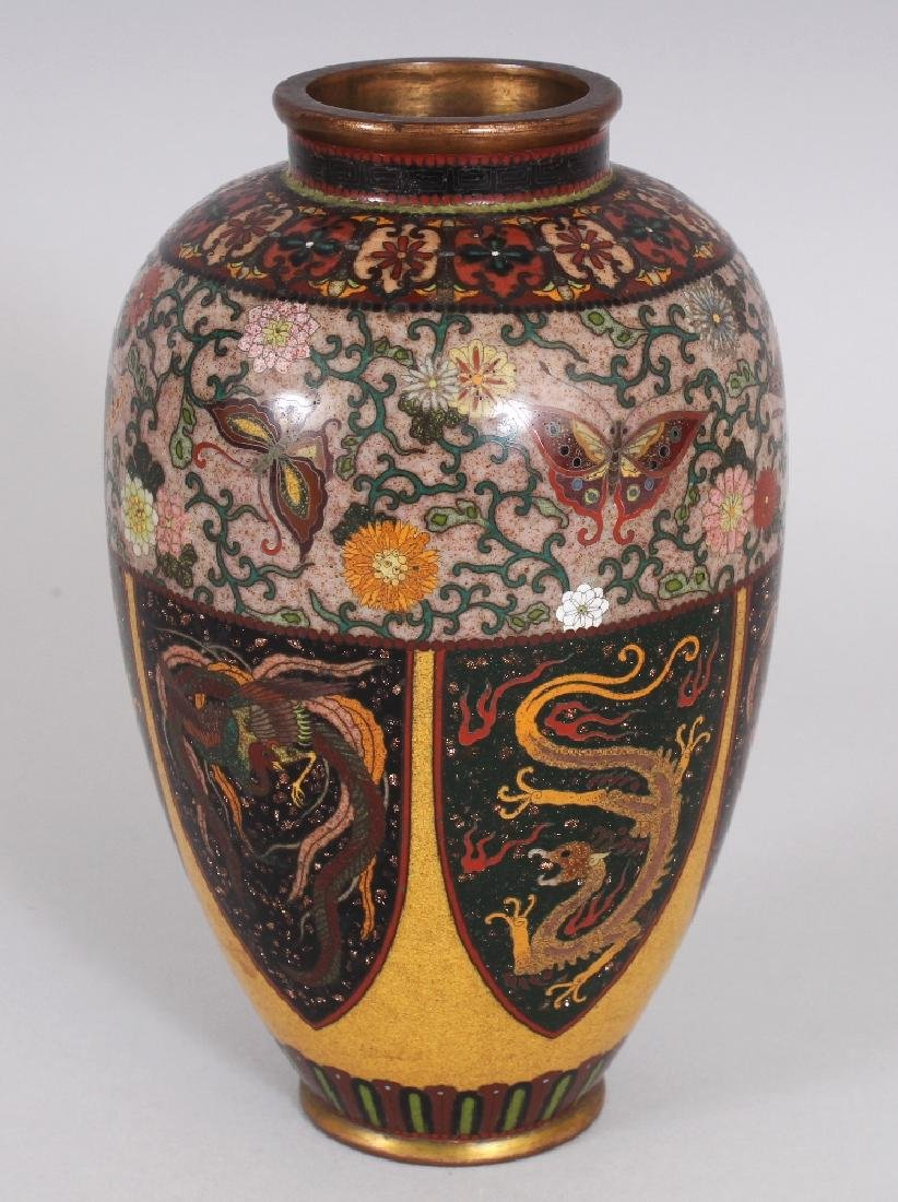A GOOD QUALITY JAPANESE MEIJI PERIOD CLOISONNE VASE, in - 5