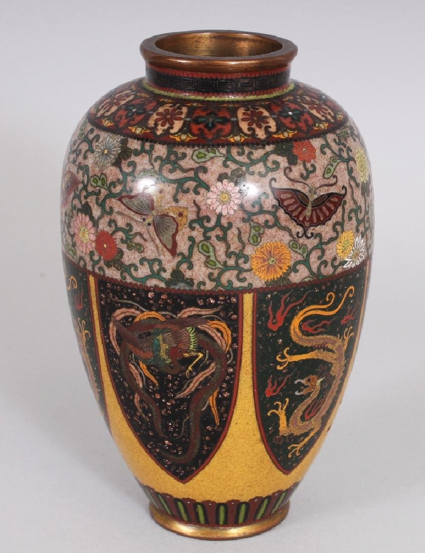 A GOOD QUALITY JAPANESE MEIJI PERIOD CLOISONNE VASE, in - 6