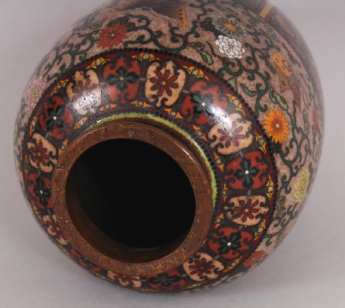 A GOOD QUALITY JAPANESE MEIJI PERIOD CLOISONNE VASE, in - 7