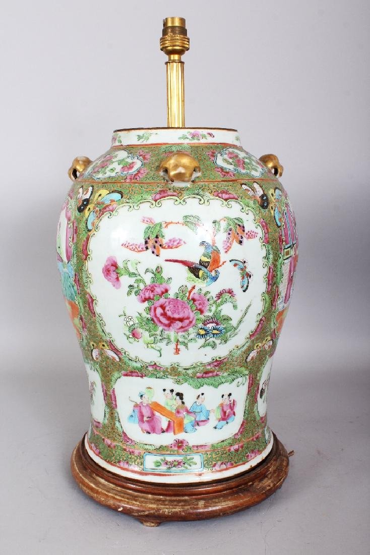 A LARGE 19TH CENTURY CHINESE CANTON PORCELAIN VASE, - 2