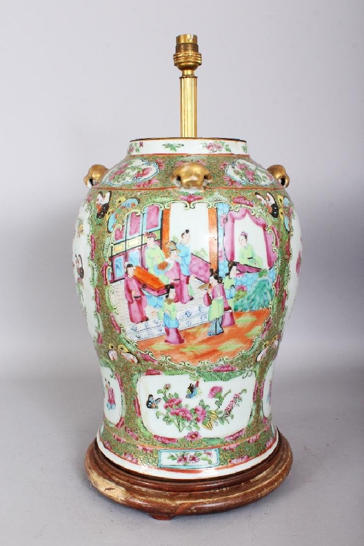 A LARGE 19TH CENTURY CHINESE CANTON PORCELAIN VASE, - 3
