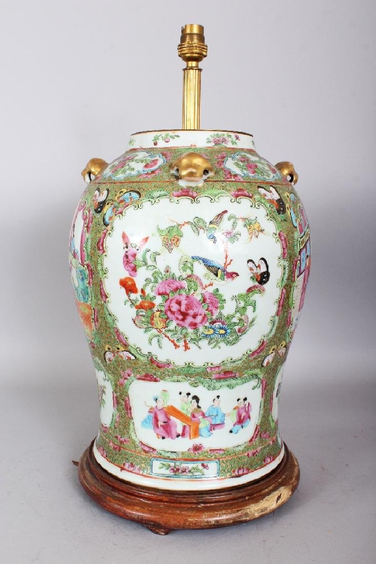 A LARGE 19TH CENTURY CHINESE CANTON PORCELAIN VASE, - 4