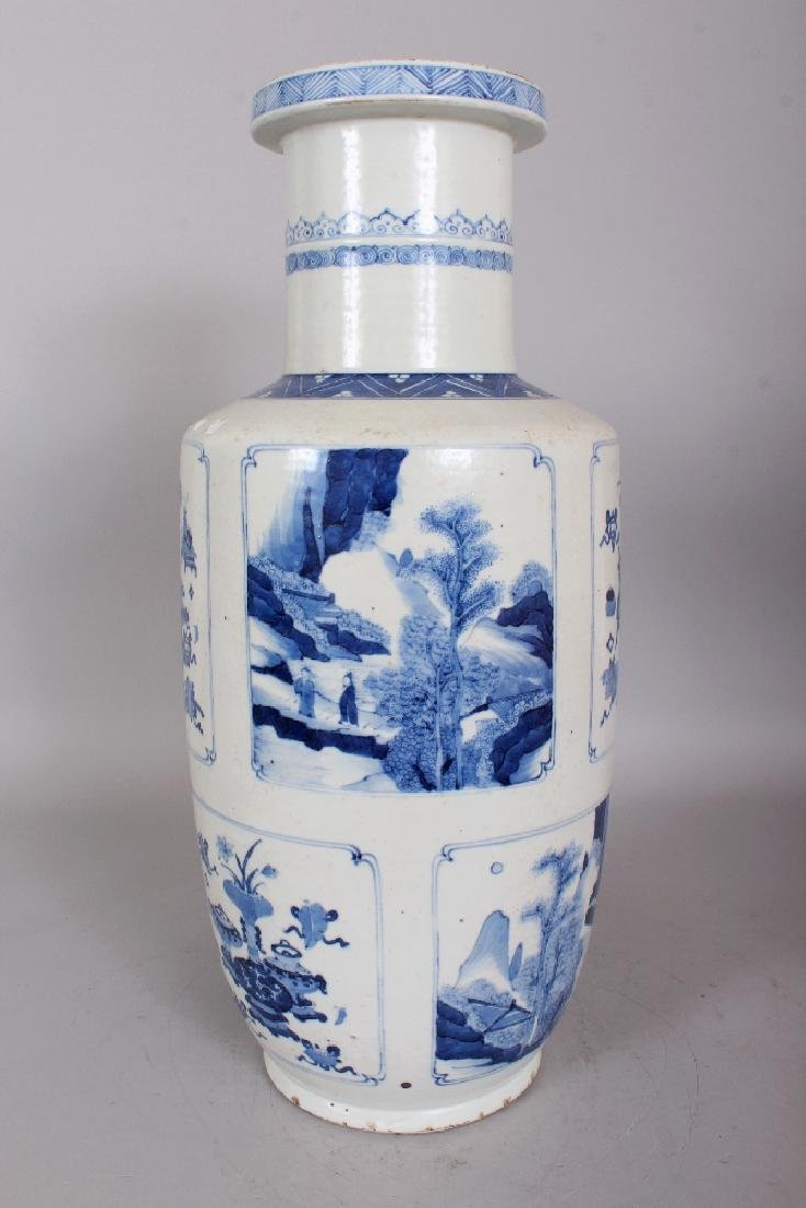 A CHINESE KANGXI STYLE BLUE & WHITE PORCELAIN ROULEAU - 2