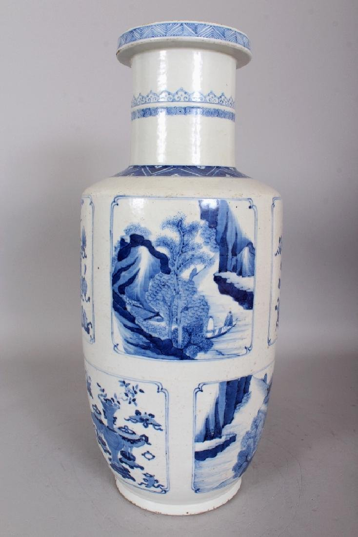 A CHINESE KANGXI STYLE BLUE & WHITE PORCELAIN ROULEAU - 4