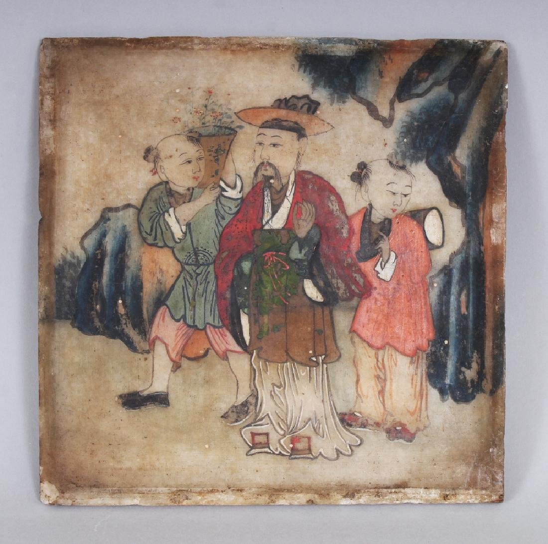 A SMALLER SQUARE FORM 19TH/20TH CENTURY CHINESE PAINTED