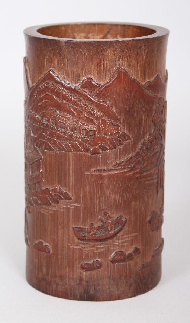 A CHINESE BAMBOO BRUSHPOT, the sides decorated in