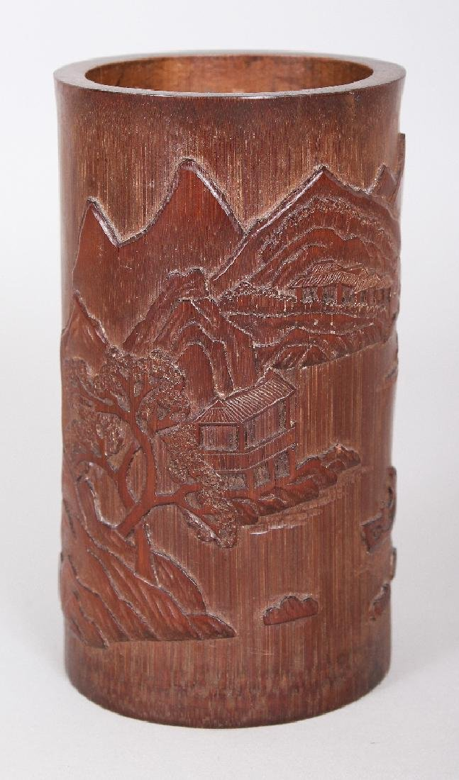 A CHINESE BAMBOO BRUSHPOT, the sides decorated in - 2