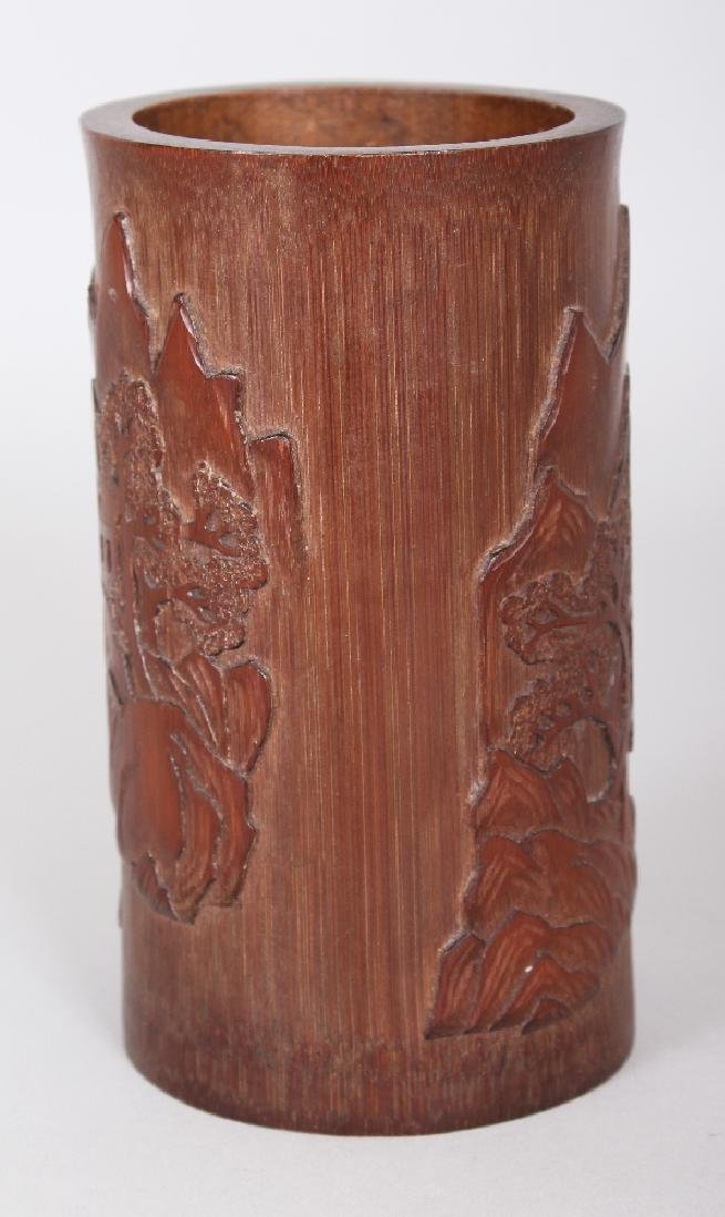 A CHINESE BAMBOO BRUSHPOT, the sides decorated in - 3