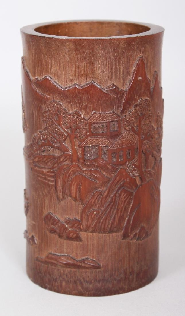 A CHINESE BAMBOO BRUSHPOT, the sides decorated in - 4