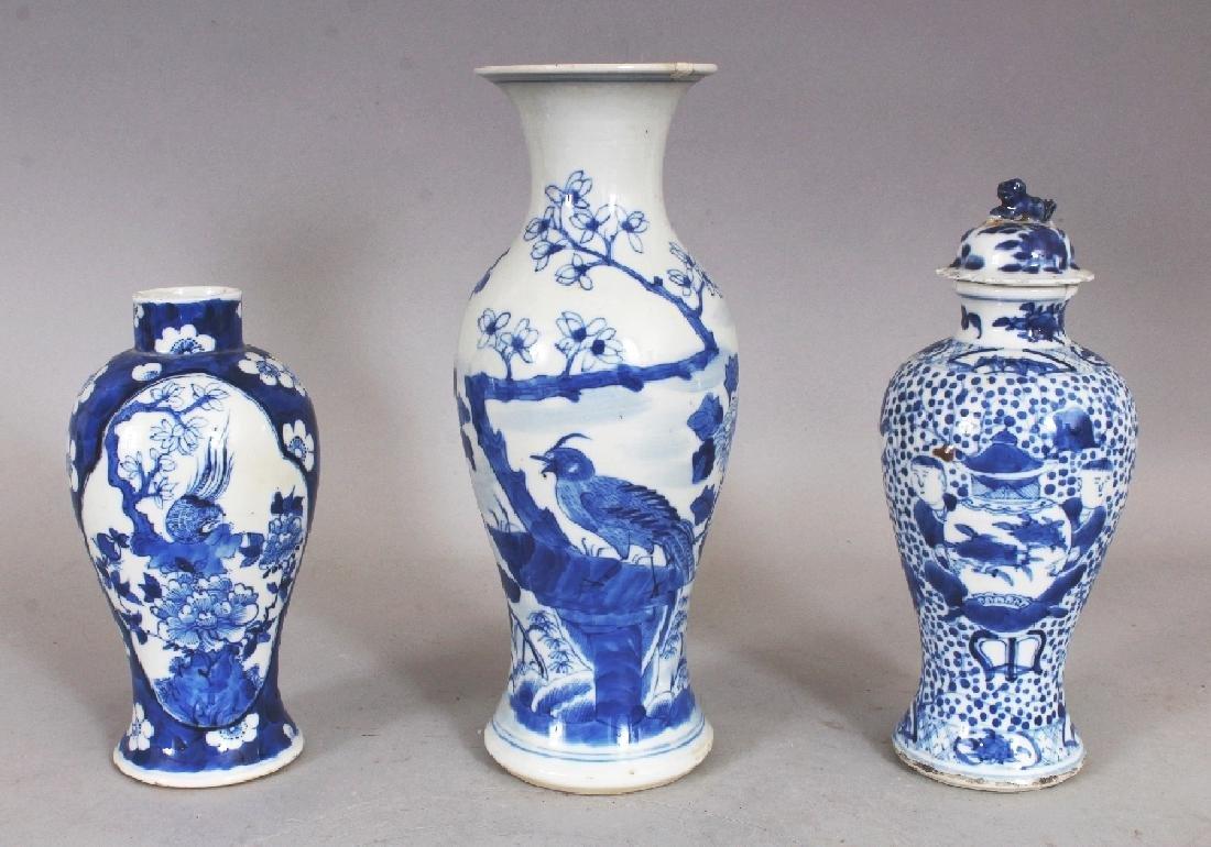 THREE VARIOUS 19TH CENTURY CHINESE BLUE & WHITE