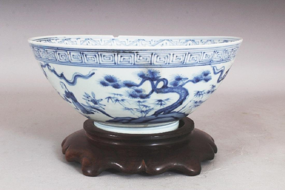 A CHINESE MING STYLE BLUE & WHITE PORCELAIN BOWL, - 2
