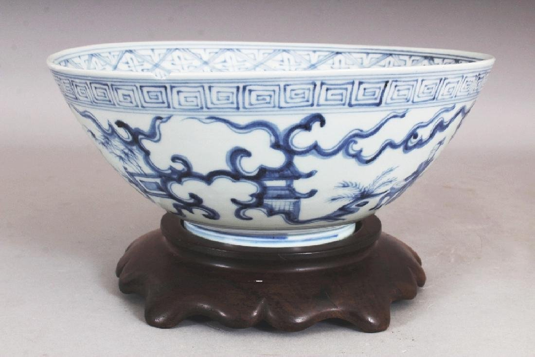 A CHINESE MING STYLE BLUE & WHITE PORCELAIN BOWL, - 4
