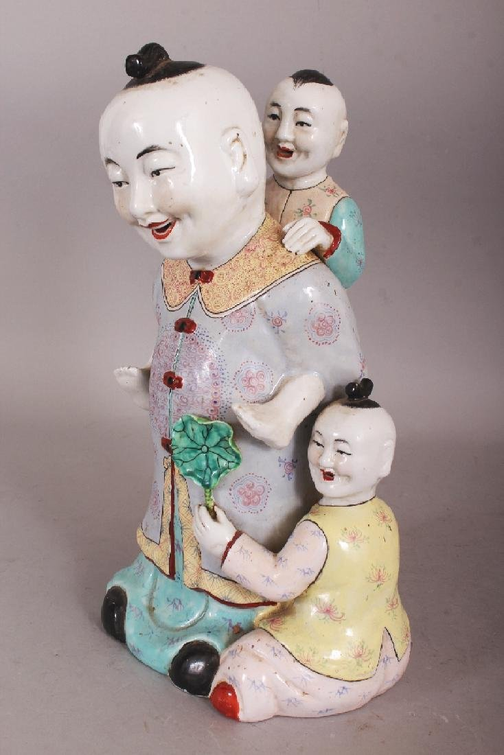 A 20TH CENTURY CHINESE FAMILLE ROSE PORCELAIN GROUP, - 2