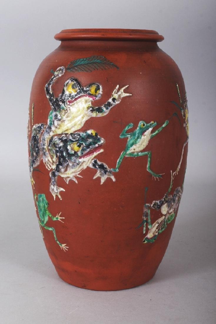 A VERY UNUSUAL JAPANESE MEIJI PERIOD GLAZED RED POTTERY - 3