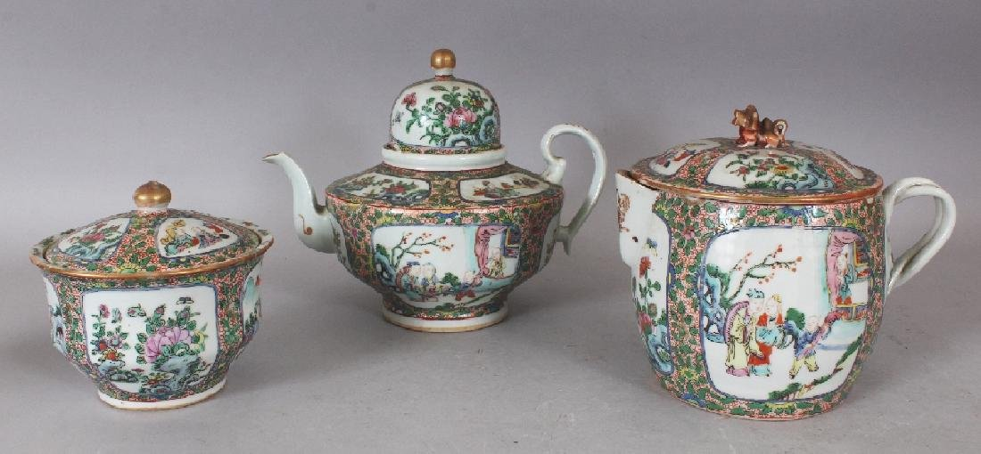A 19TH CENTURY CHINESE CANTON PORCELAIN PART TEA SET,