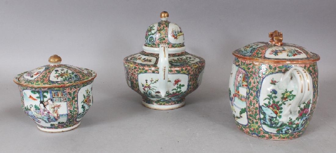 A 19TH CENTURY CHINESE CANTON PORCELAIN PART TEA SET, - 2