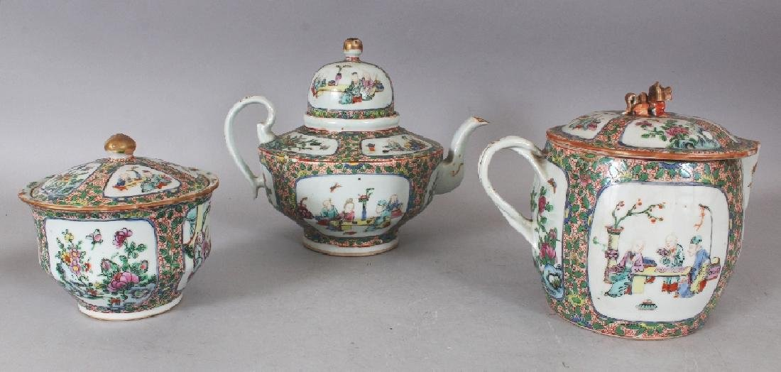 A 19TH CENTURY CHINESE CANTON PORCELAIN PART TEA SET, - 3