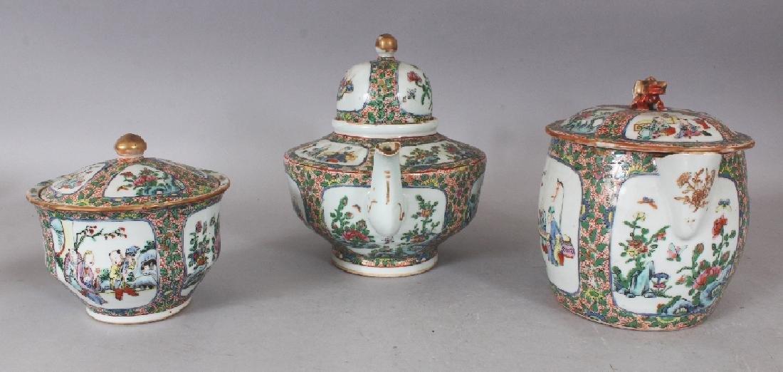 A 19TH CENTURY CHINESE CANTON PORCELAIN PART TEA SET, - 4