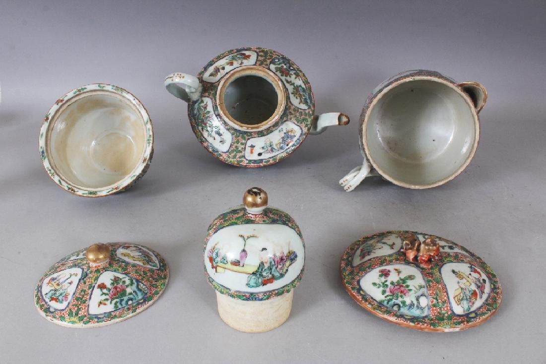 A 19TH CENTURY CHINESE CANTON PORCELAIN PART TEA SET, - 5