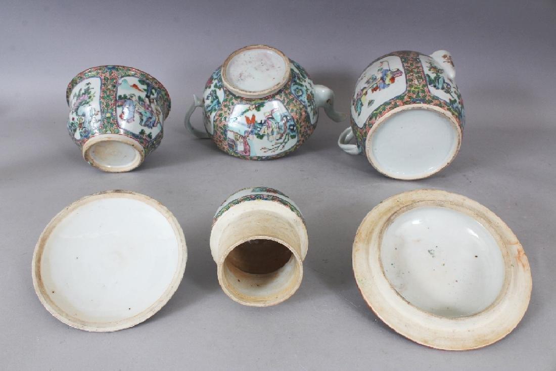 A 19TH CENTURY CHINESE CANTON PORCELAIN PART TEA SET, - 6