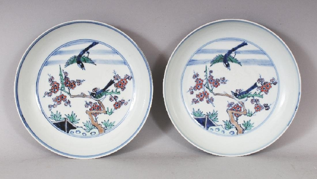 A PAIR OF CHINESE DOUCAI PORCELAIN SAUCER DISHES, each