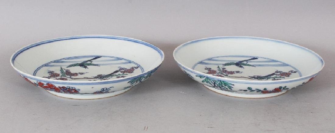 A PAIR OF CHINESE DOUCAI PORCELAIN SAUCER DISHES, each - 4