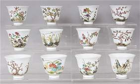 AN UNUSUAL SET OF TWELVE GOOD QUALITY CHINESE FAMILLE