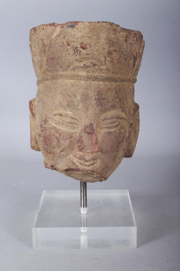 A CHINESE SANDSTONE HEAD OF A BODHISATTVA, modelled in - 2