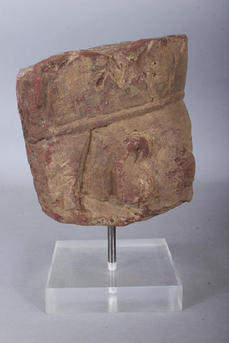 A CHINESE SANDSTONE HEAD OF A BODHISATTVA, modelled in - 3