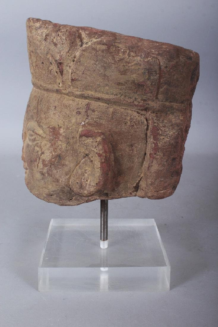 A CHINESE SANDSTONE HEAD OF A BODHISATTVA, modelled in - 5