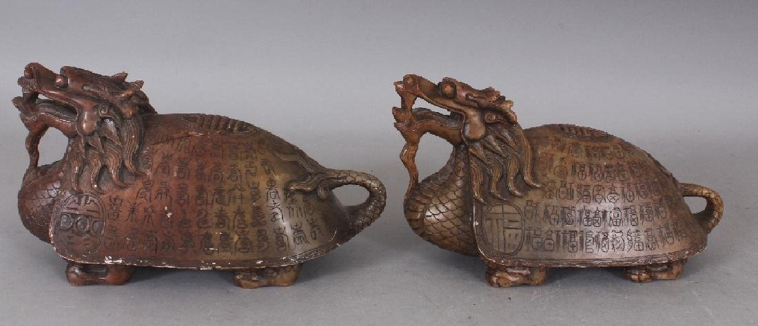 AN UNUSUAL PAIR OF 19TH/20TH CENTURY CHINESE SOAPSTONE - 2