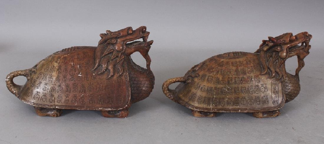 AN UNUSUAL PAIR OF 19TH/20TH CENTURY CHINESE SOAPSTONE - 4