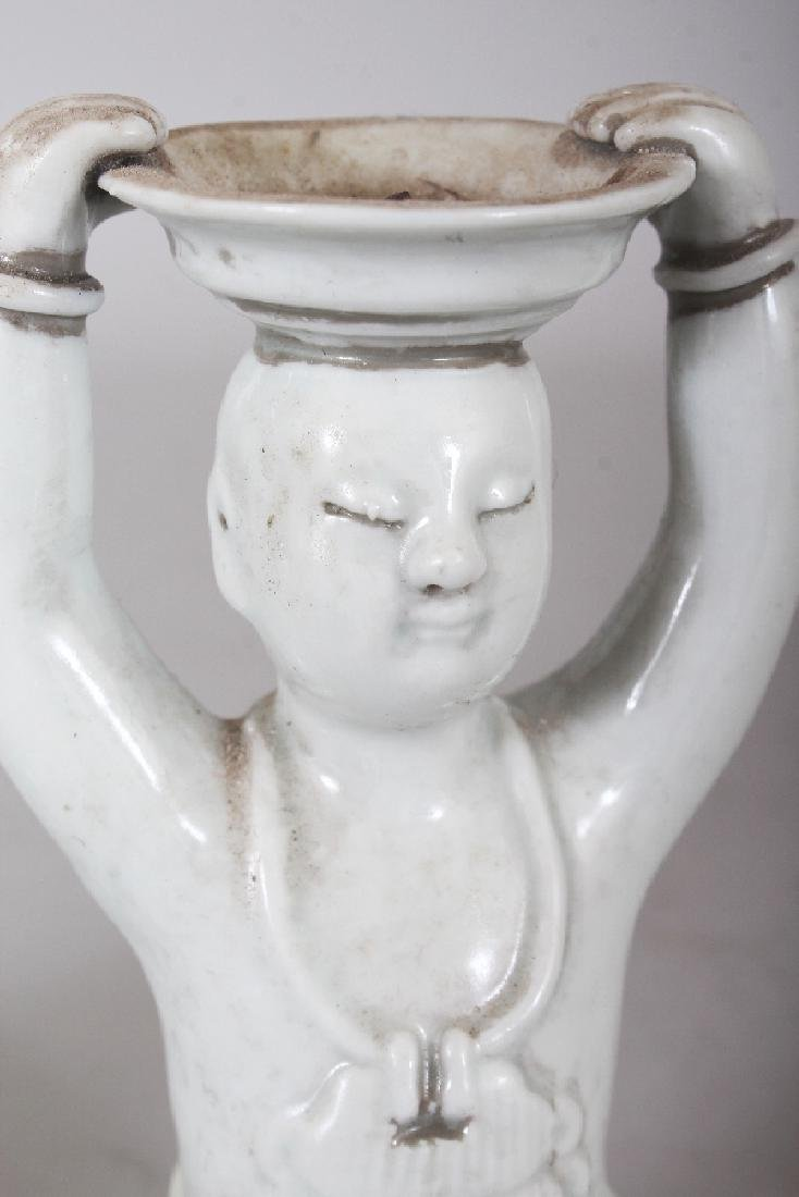 A PAIR OF CHINESE WHITE GLAZED PORCELAIN CANDLESTICKS, - 6
