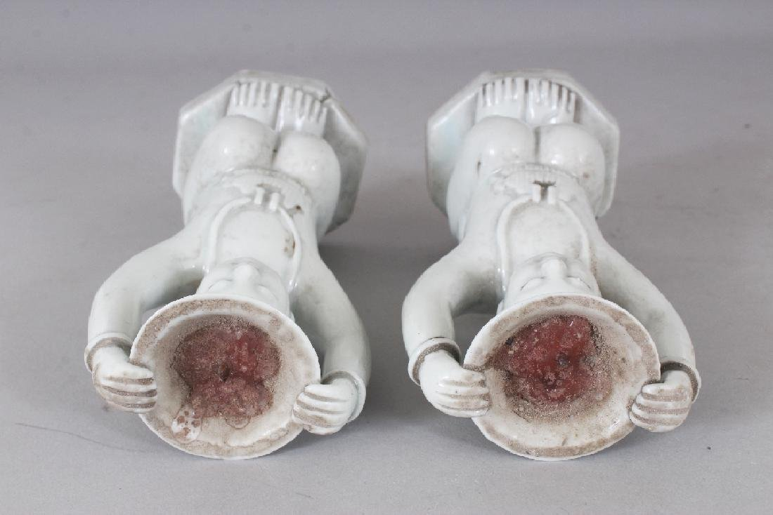 A PAIR OF CHINESE WHITE GLAZED PORCELAIN CANDLESTICKS, - 7