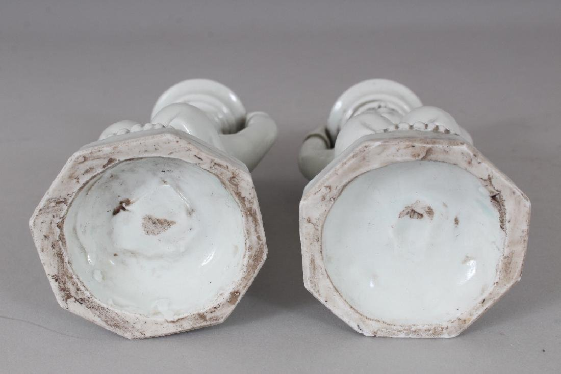 A PAIR OF CHINESE WHITE GLAZED PORCELAIN CANDLESTICKS, - 8