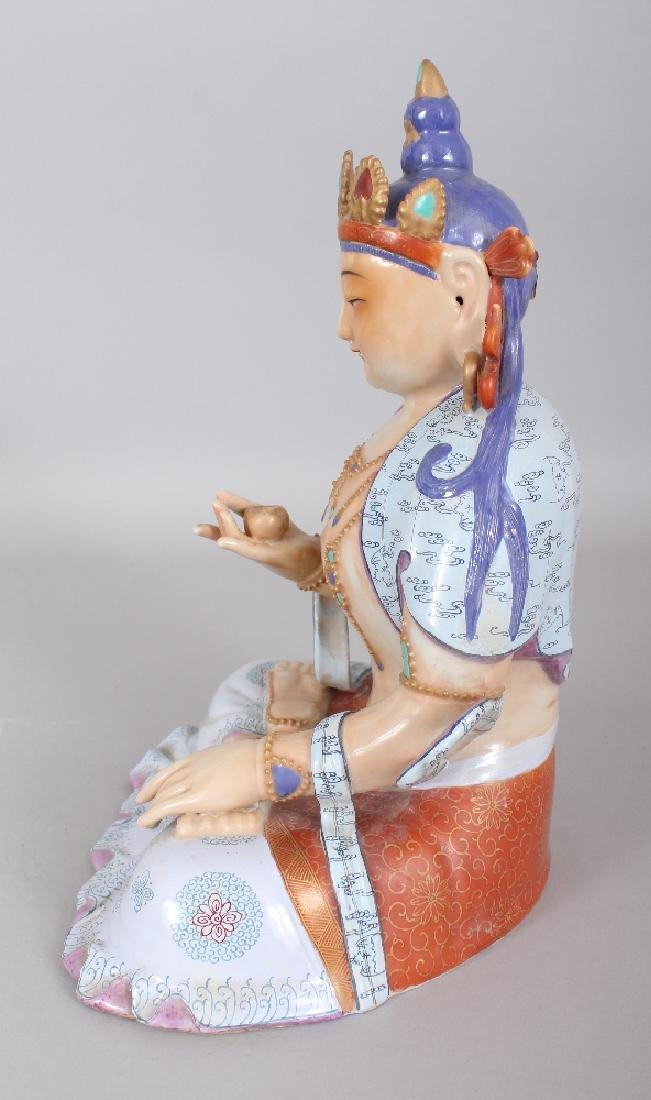 A CHINESE FAMILLE ROSE PORCELAIN FIGURE OF BUDDHA, - 4