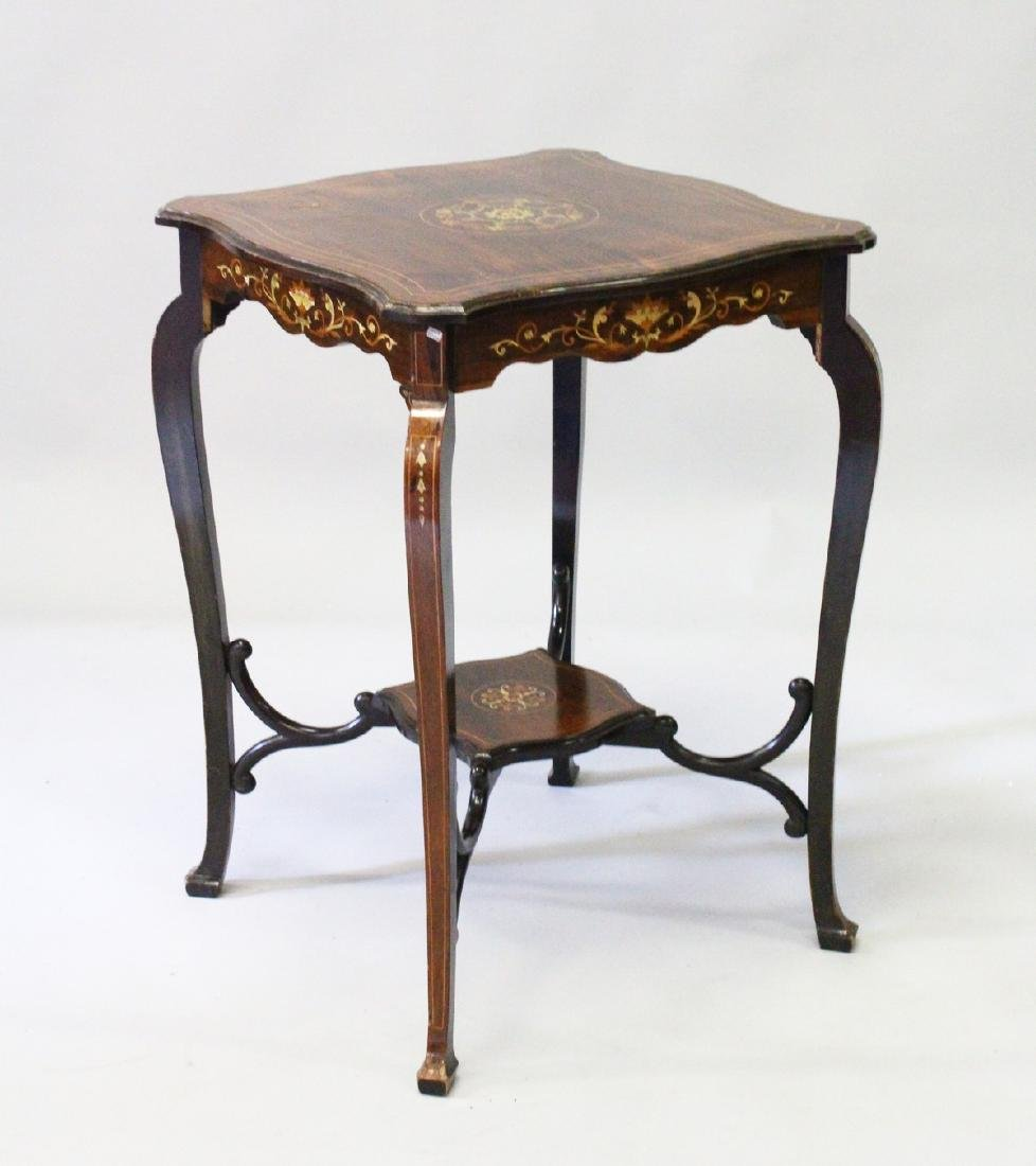 A VICTORIAN ROSEWOOD INLAID SQUARE TOP OCCASIONAL TABLE